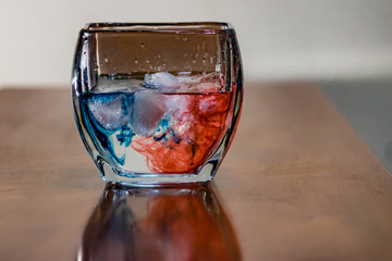 red and blue liquid