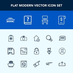 Modern, simple vector icon set with sea, search, chat, security, upload, yacht, web, sign, room, computer, house, ocean, camera, comfortable, home, retail, photography, landscape, download, book icons