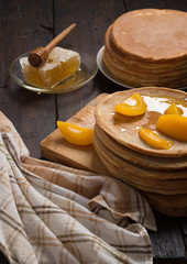 Pancakes on a wooden table