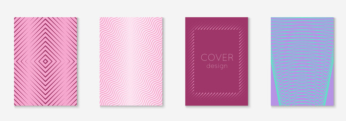 Cool cover template set. Minimal trendy vector with halftone gradients. Geometric cool cover template for flyer, poster, brochure and invitation. Minimalistic colorful shapes. Abstract illustration.