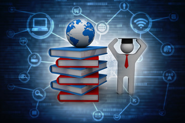 3d rendering books network with student