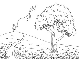 Boy play with kite graphic black white road tree landscape sketch illustration vector