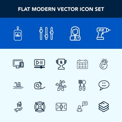 Modern, simple vector icon set with place, business, television, credit, tower, pool, blue, first, achievement, timetable, swimming, time, scale, machine, video, insulating, tape, card, landmark icons