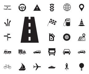 Road, way, Traffic icon. Transport vector icon set.