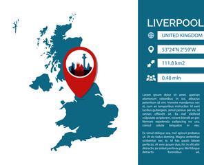 Liverpool infographics template. Modern city data statistic isolated illustration