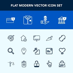 Modern, simple vector icon set with fashion, cash, banking, search, shovel, musical, laptop, equipment, computer, string, up, nature, music, upstairs, house, seedling, tshirt, extreme, life, pc icons