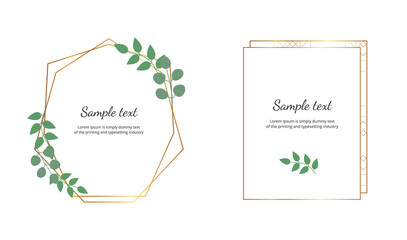 Geometric polygonal frames with golden lines and leaves eucalyptus. Botanical design templates for wedding, invitation, save the date, banner, poster, card, placard, flyer, invite, greeting