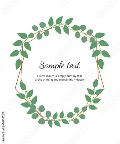 polygonal geometric golden frame with leaves eucalyptus botanical