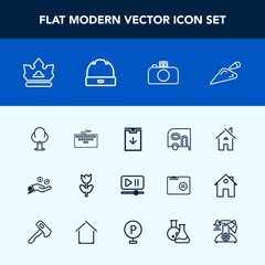 Modern, simple vector icon set with web, environment, construction, forest, spring, photography, king, house, coin, equipment, button, queen, van, royal, work, laptop, car, finance, keyboard icons