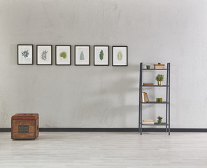 concrete wall grey tone frame and bookcase style
