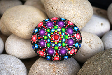 Beautiful hand painted mandala rock