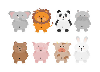 Set of cute animals illustration, isolated, elephant, lion, panda, hippo, bear, pig, cow, rabbit