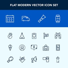 Modern, simple vector icon set with frame, adventure, cream, tent, space, dirt, camp, dessert, america, food, square, day, girl, schedule, telescope, minute, scale, calendar, face, temperature icons