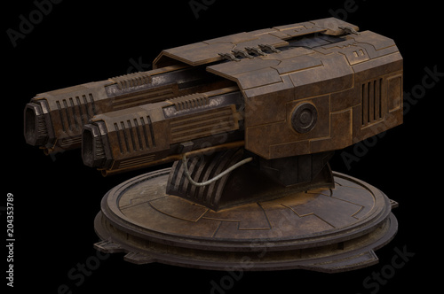 """Science fiction illustration of a large rotating gun turret isolated on black"" Stock photo and royalty-free images on Fotolia.com - Pic 204353789"