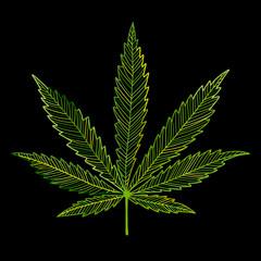 Cannabis leaf, sketch for your design