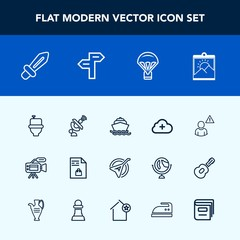 Modern, simple vector icon set with communication, online, supermarket, global, technology, wc, string, restroom, internet, medieval, sword, ocean, satellite, space, sea, weapon, blank, notebook icons