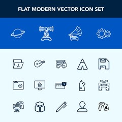 Modern, simple vector icon set with tent, waste, dumper, planet, house, retro, camp, paper, outdoor, rubbish, dump, real, property, blank, truck, cash, travel, garbage, tipper, estate, white icons