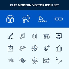 Modern, simple vector icon set with glasses, business, water, internet, liquid, dump, modern, pie, field, dumper, science, blank, pencil, photo, picture, write, education, vehicle, square, frame icons