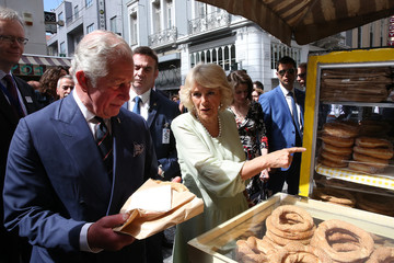 Britain's Prince Charles and his wife Britain's Camilla, Duchess of Cornwall visit Greece