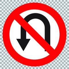 Circular single white. Red and black no u-turn symbol. Do not u turn sign on white background. Traffic sign.