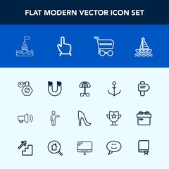 Modern, simple vector icon set with wheel, bottle, style, arrow, direction, ship, fashion, communication, high, nautical, rudder, boat, way, perfume, people, medieval, pointing, architecture icons