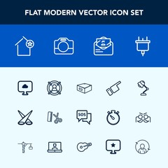Modern, simple vector icon set with interior, post, background, danger, marketing, plug, sos, camera, apartment, professional, video, drawer, showing, electricity, sign, technology, people, lamp icons