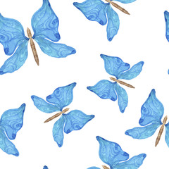 Watercolor illustration. Seamless pattern of blue butterflies on a white background