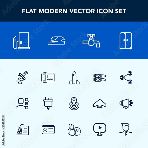 modern simple vector icon set with bathroom stationary office