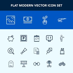 Modern, simple vector icon set with estate, finance, picture, tree, pc, online, search, photo, telescope, laptop, sky, frame, real, landscape, transport, business, gun, vehicle, financial, blank icons