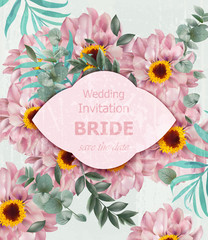Vintage Wedding invitation with daisy flowers Vector. Beautiful card background illustrations