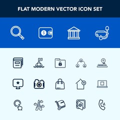 Modern, simple vector icon set with photo, buoy, education, star, fashion, people, lock, retail, search, technology, photographer, button, web, business, tourism, arrow, money, folder, camera icons