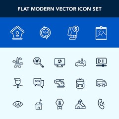 Modern, simple vector icon set with sos, bird, blank, light, lamp, button, eiffel, picture, lorry, wooden, magnifying, search, competition, emergency, truck, air, gold, photo, paris, safety, sky icons