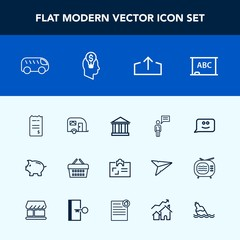 Modern, simple vector icon set with van, bus, left, blackboard, face, sale, market, europe, greek, bill, store, business, investment, chalkboard, smile, greece, download, direction, shop, web icons