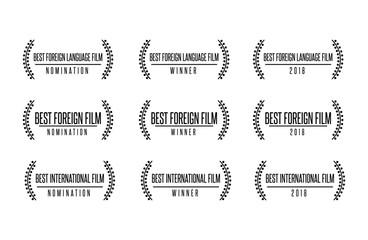 Movie award best foreign language film international nomination winner black gold vector icon set