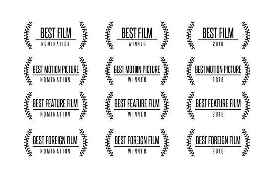 Movie award best feature film motion picture nomination winner vector logo icon set