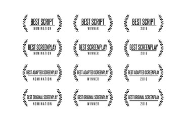 Movie award best original adapted screenplay film script nomination winner vector icon logo set