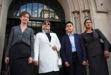 Fatima Boudchar, wife of Libyan politician Hakim Belhadj, and their son Abderrahim, arrive at Portcullis House, the annex of the Houses of Parliament, with lawyer Sapna Malik and Cori Crider legal counsel to Reprieve in Westminster, London