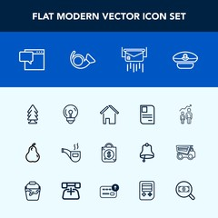 Modern, simple vector icon set with electricity, classic, bulb, tag, bag, hat, energy, mail, fresh, nature, building, pipe, organic, development, message, progress, estate, vintage, personal, id icons