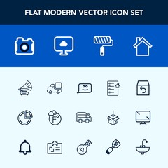 Modern, simple vector icon set with document, music, order, chart, lorry, scale, delivery, photographer, vintage, transportation, real, smile, technology, move, gramophone, retro, estate, camera icons