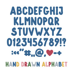 Hand drawn english alphabet, punctuation marks and numbers. Simple flat font isolated on white background.