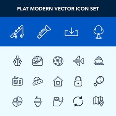 Modern, simple vector icon set with reel, envelope, risk, download, game, landscape, forest, estate, ship, sign, fishing, communication, antenna, flight, space, casino, luck, building, sea, post icons
