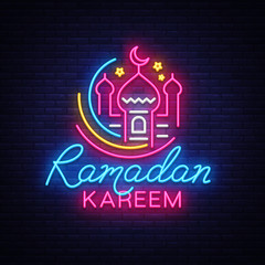 Ramadan Kareem neon sign vector, leaflet design template concept of lines with colored crescent and mosque, Islamic banner background design, neon symbol, modern trend design, Islamic holiday vector