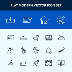 Modern, simple vector icon set with suitcase, web, travel, army, house, joy, map, panzer, gun, work, money, navigation, trip, download, bank, location, route, tank, road, young, face, girl, war icons