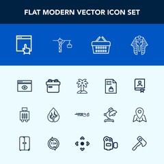 Modern, simple vector icon set with computer, ribbon, notebook, travel, landscape, tree, address, environment, office, window, culture, holiday, website, contact, egypt, tropical, book, store icons