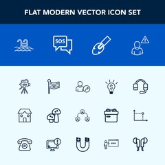 Modern, simple vector icon set with construction, equipment, hierarchy, call, microphone, building, structure, america, emergency, web, account, mushroom, idea, alarm, safety, sos, food, nation icons