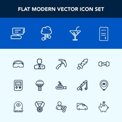 Modern, simple vector icon set with jump, sea, financial, extreme, paper, view, money, boat, bill, record, people, video, business, undersea, ocean, parachute, industry, sport, technology, blade icons
