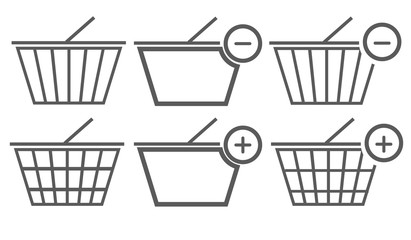 Black shopping basket icons collection on white background. Vector illustration EPS 10.