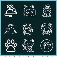 Set of 9 cat outline icons