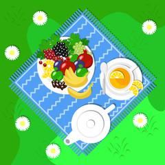 Vegan picnic in the open air, fruits, set for tea