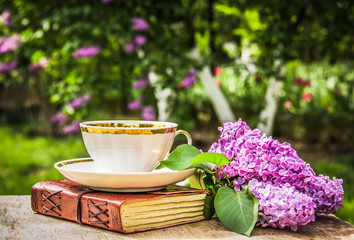 Tea with book in the garden. Cup of tea,  book and garden. Copy space